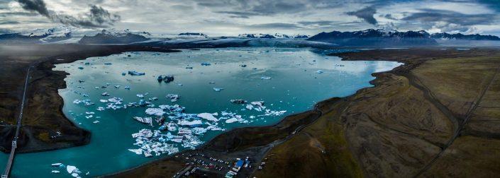 Iceland by Drone Jökulsárlón Panorama