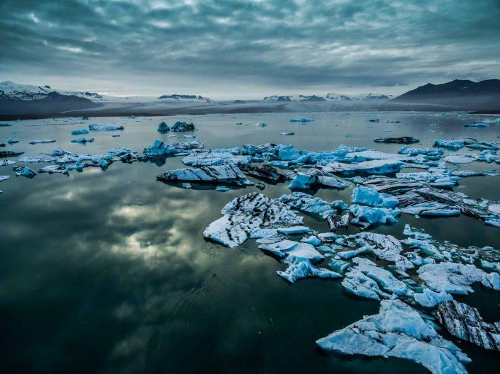 Iceland by Drone Jökulsárlón Reflection