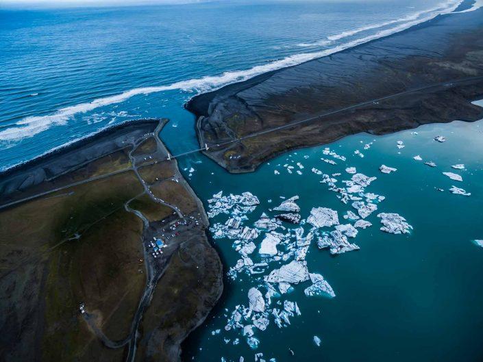 Iceland by Drone Jökulsárlón goes into the sea