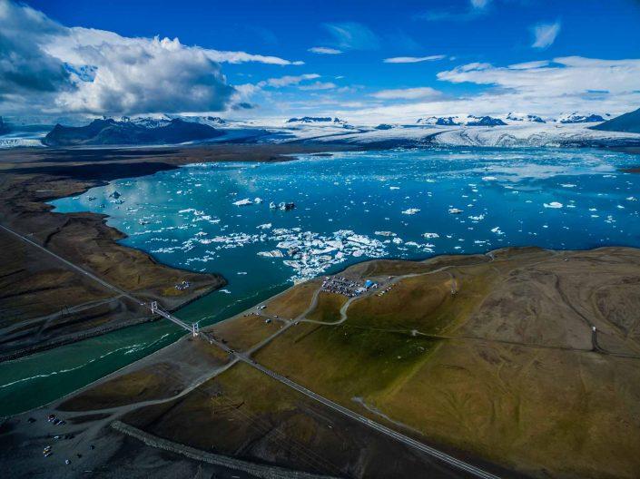 Iceland by Drone Jökulsárlón Aerial View