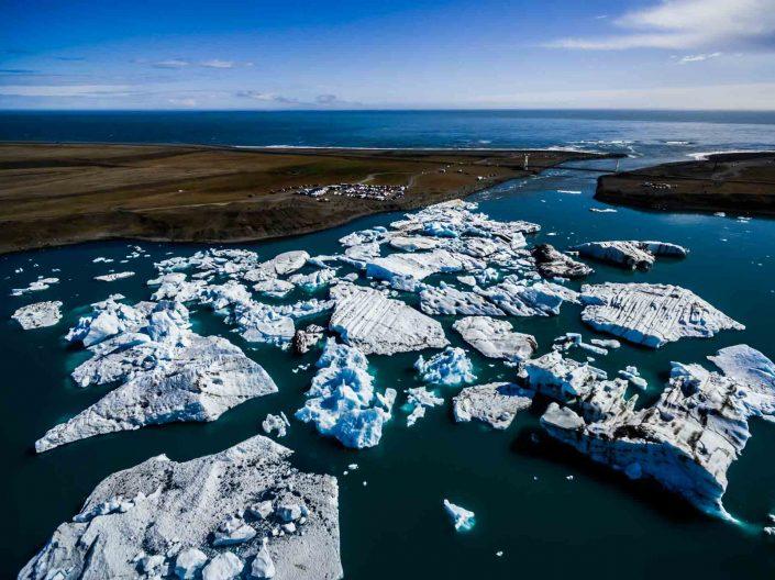 Iceland by Drone Jökulsárlón Aerial View 2