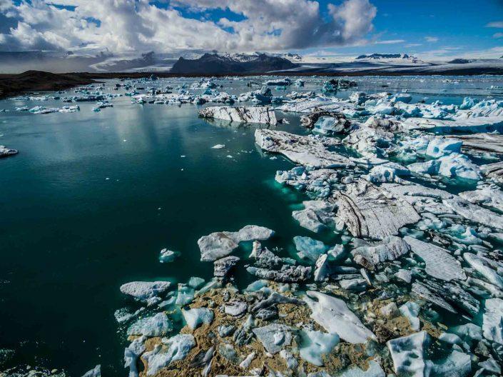 Iceland by Drone Jökulsárlón icebergs