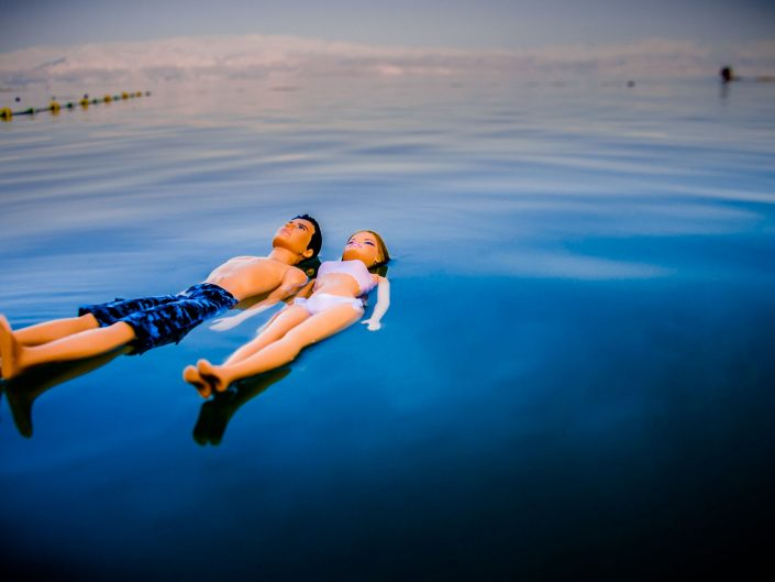 Barbie Around the World Floating together on the Dead sea