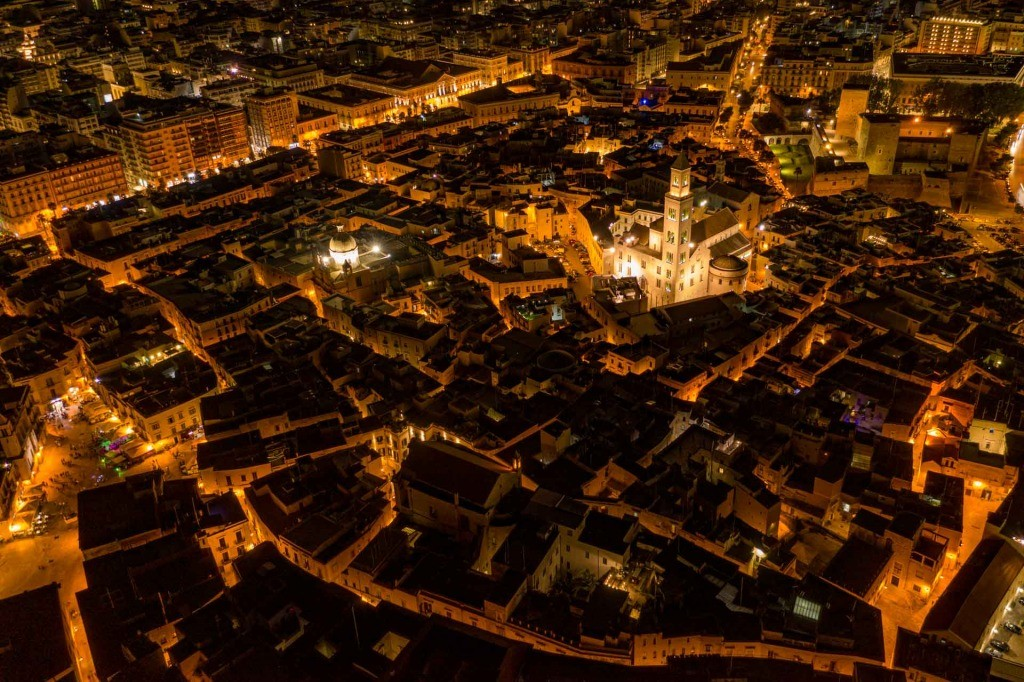 Old Town Bari Aerial Drone night landscape