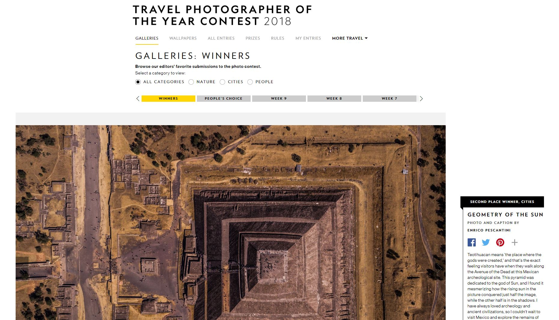 National Geographic Travel Photographer of the year 2018 Cities Winner Geometry of the Sun Enrico Pescantini
