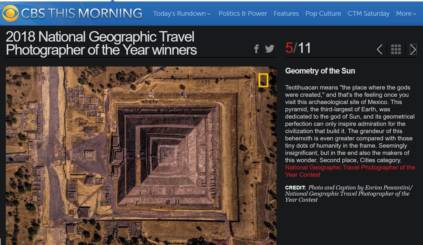 National Geographic Travel Photographer of the year 2018 Cities Winner Geometry of the Sun Enrico Pescantini CBS MORNING