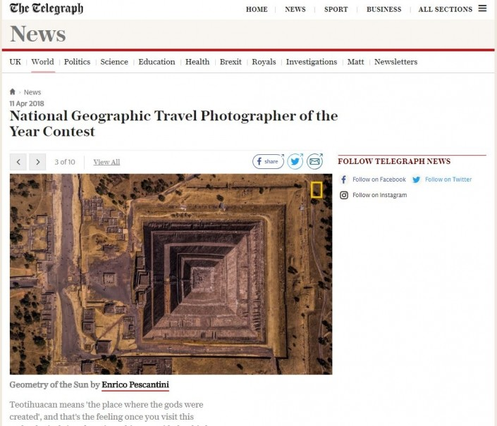 The Telegrapyh National Geographic Travel Photographer of the Year Enrico Pescantini Geometry of the Sun 2018