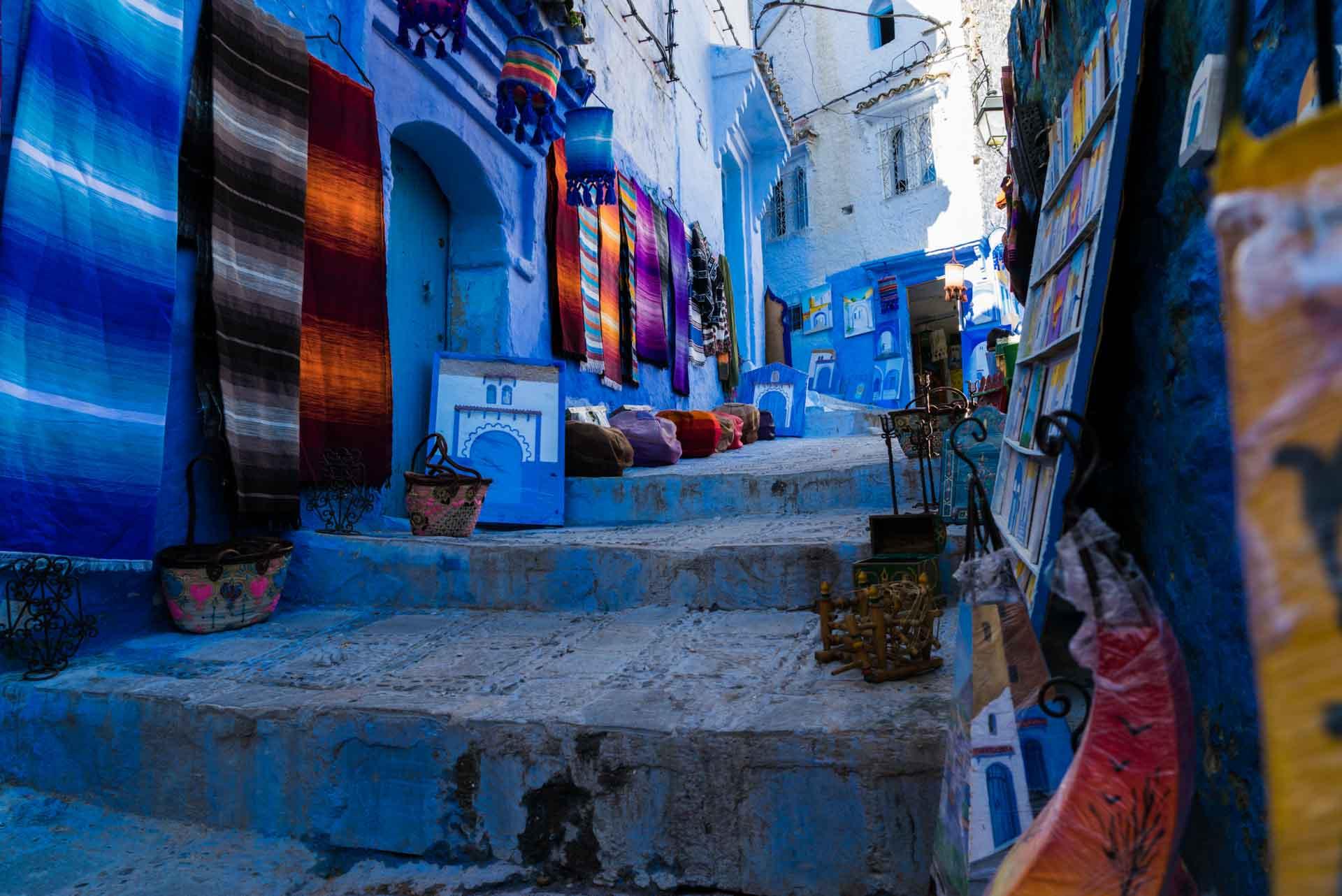 Morocco Chefchaouen blue shops