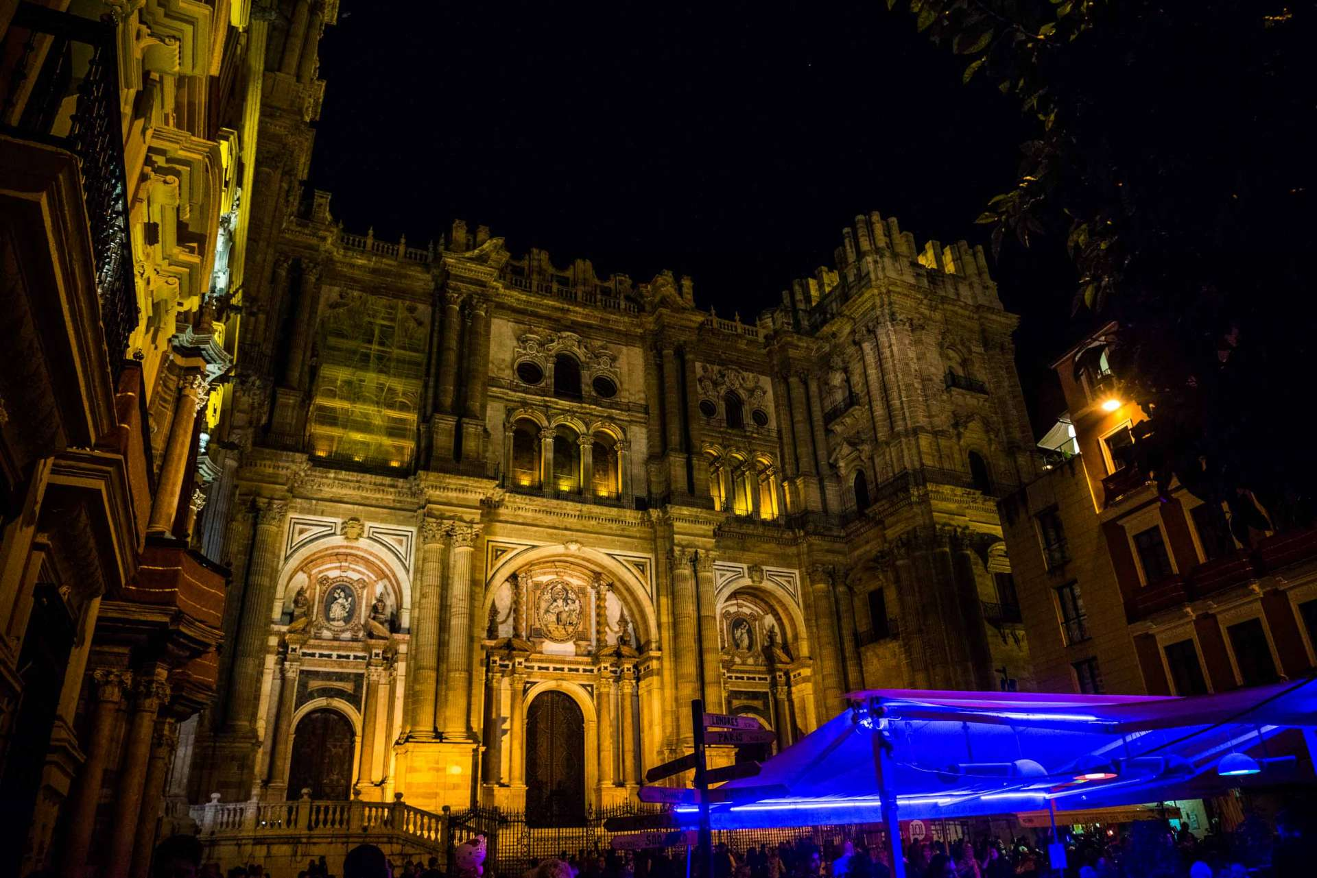 Malaga Spain - Cathedral by night
