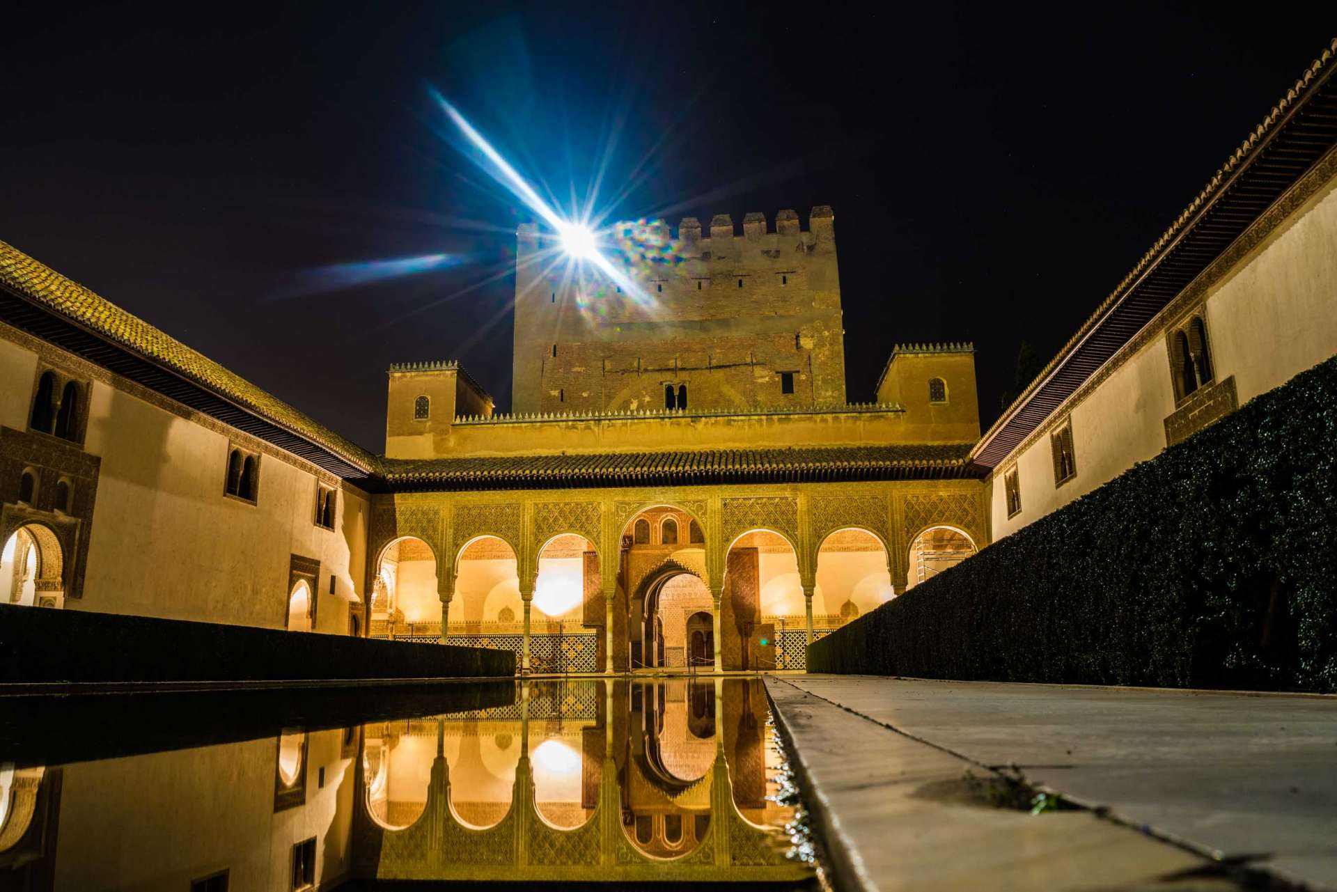 Granada Alhambra - by night - Court of the Myrtles