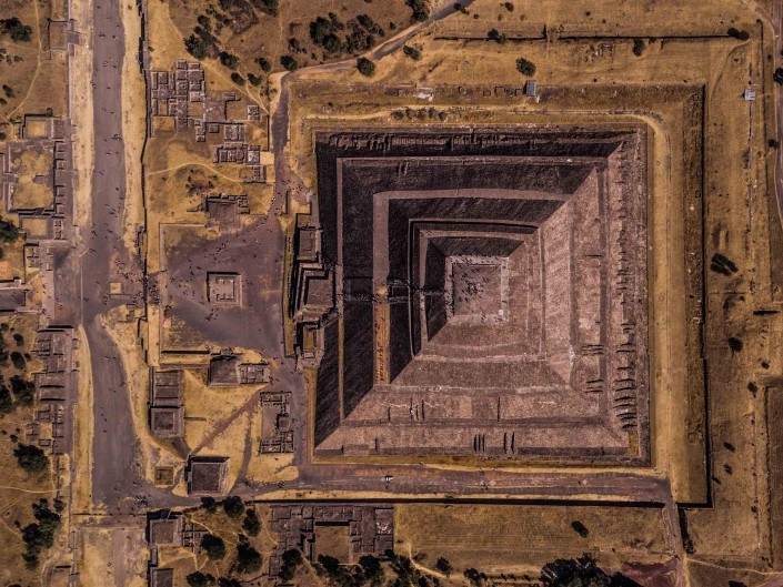 Teotihuacan Pyramid of the Sun from Above - Enrico Pescantini Photography