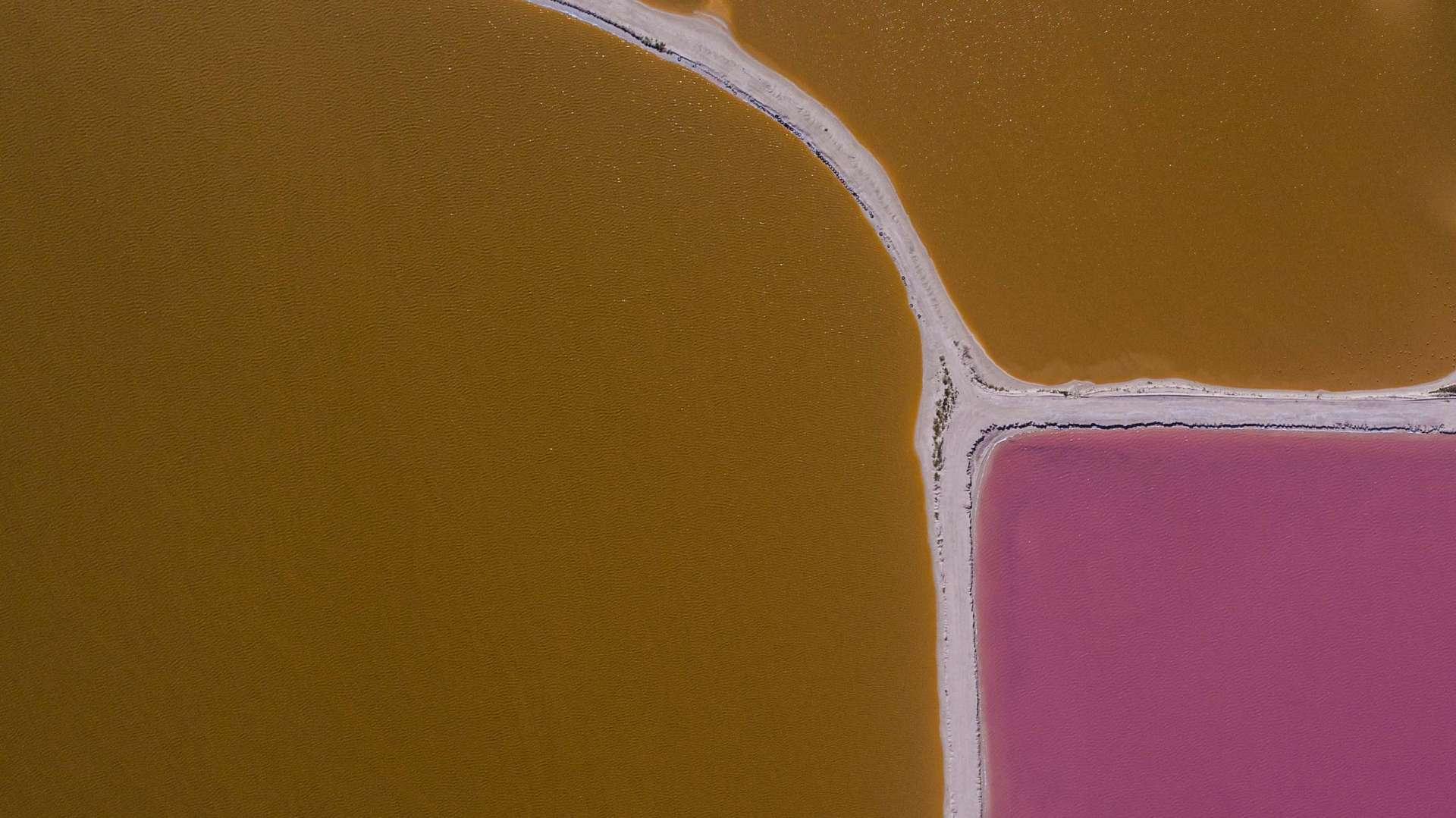 Pink lagoons Las Coloradas Yucatan Mexico Aerial View by drone Enrico Pescantini 2