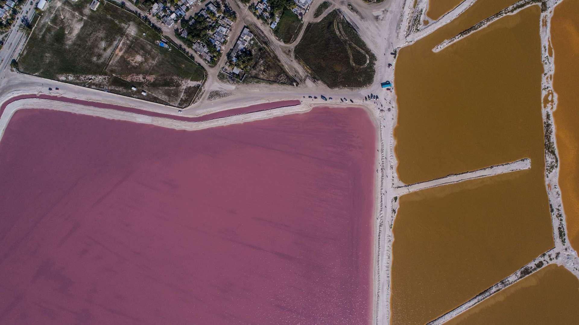 Pink lagoons Las Coloradas Yucatan Mexico Aerial View by drone Enrico Pescantini 4