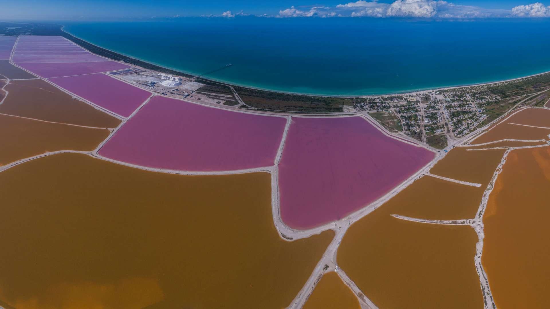 Pink lagoons Las Coloradas Yucatan Mexico Aerial View by drone Enrico Pescantini 6