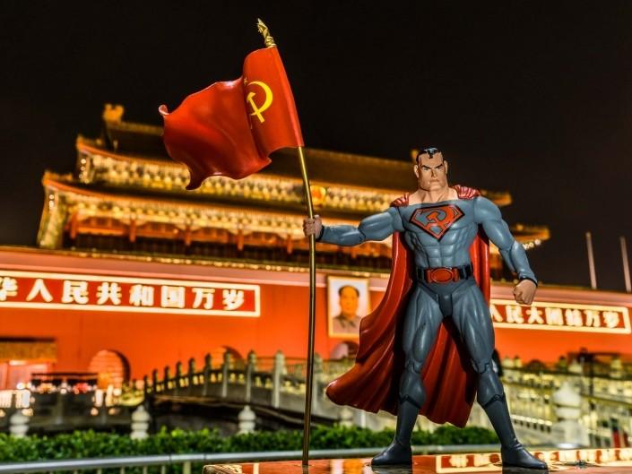 A Red Superhero in North Korea Enrico Pescantini Piazza Tiananmen superman in north korea