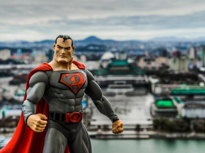 A Red Superhero in North Korea Enrico Pescantini Vista dalla torre Juche superman in north korea