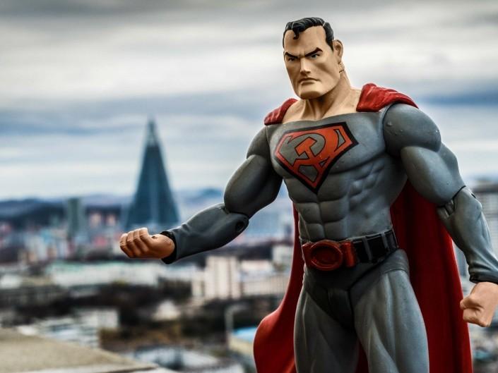 A Red Superhero in North Korea Enrico Pescantini Hotel Ryugyong superman in north korea