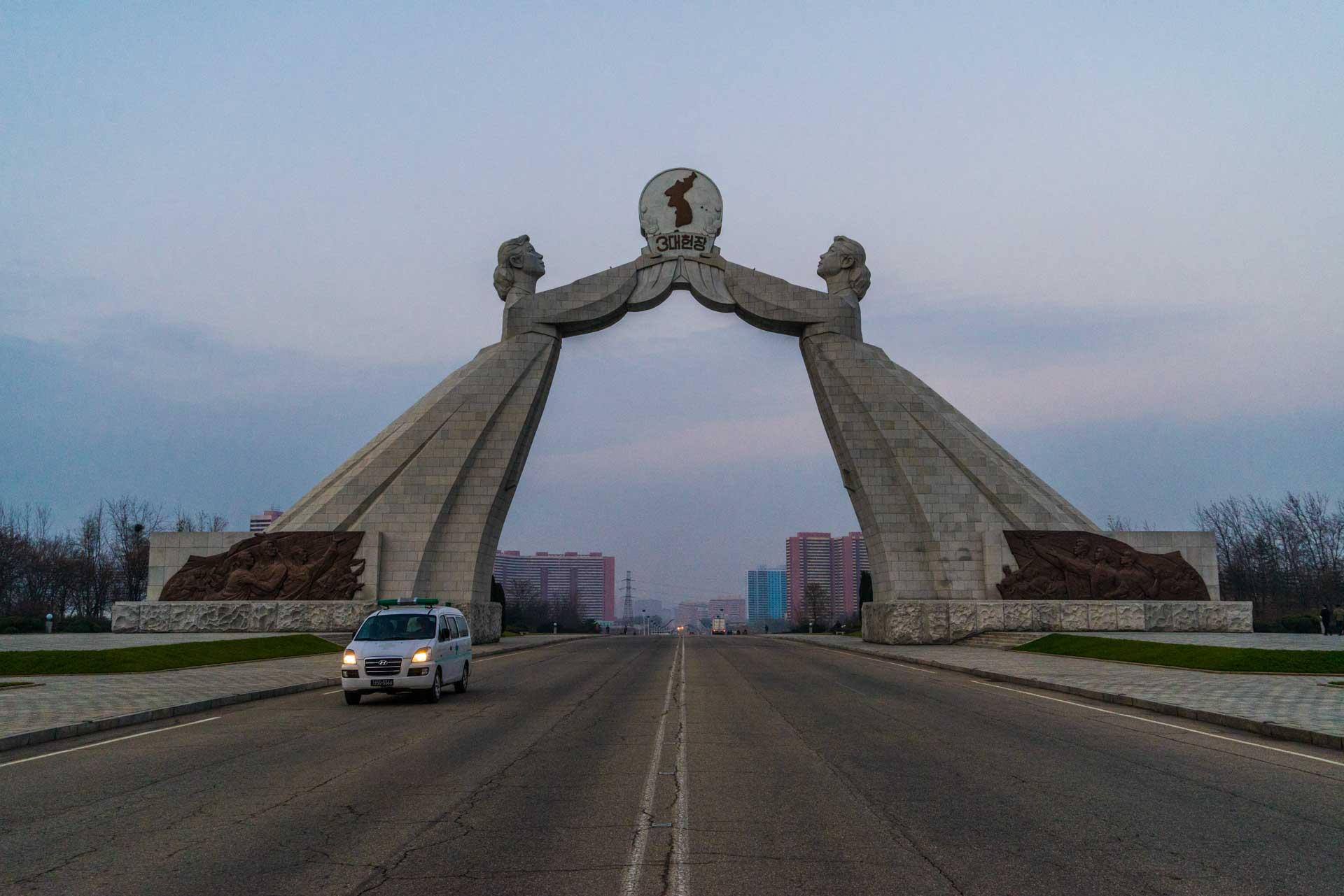 A Red Superhero in North Korea Enrico Pescantini pyongyang Arch of Reunification