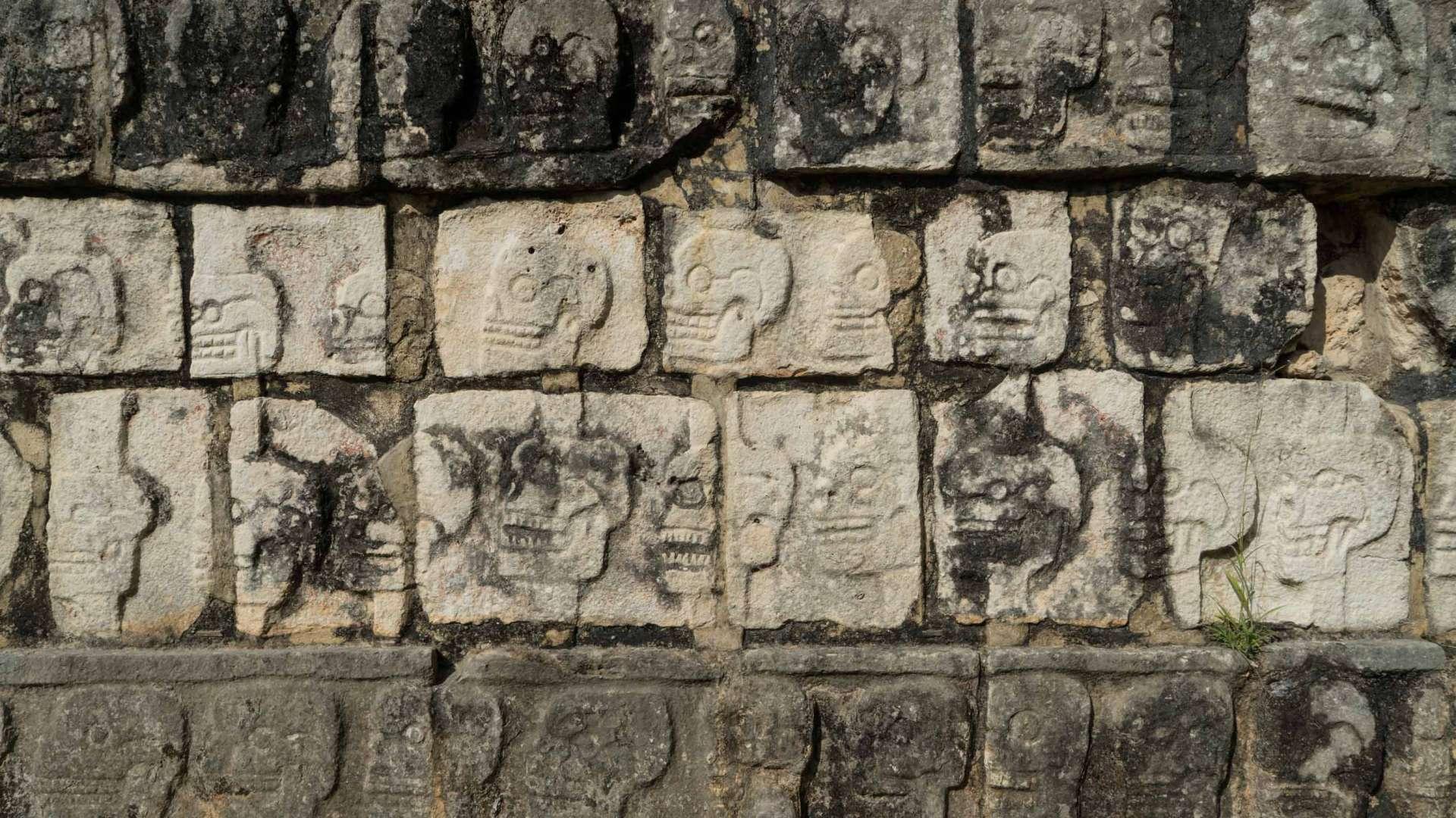 toltec sculptures in chichen itza