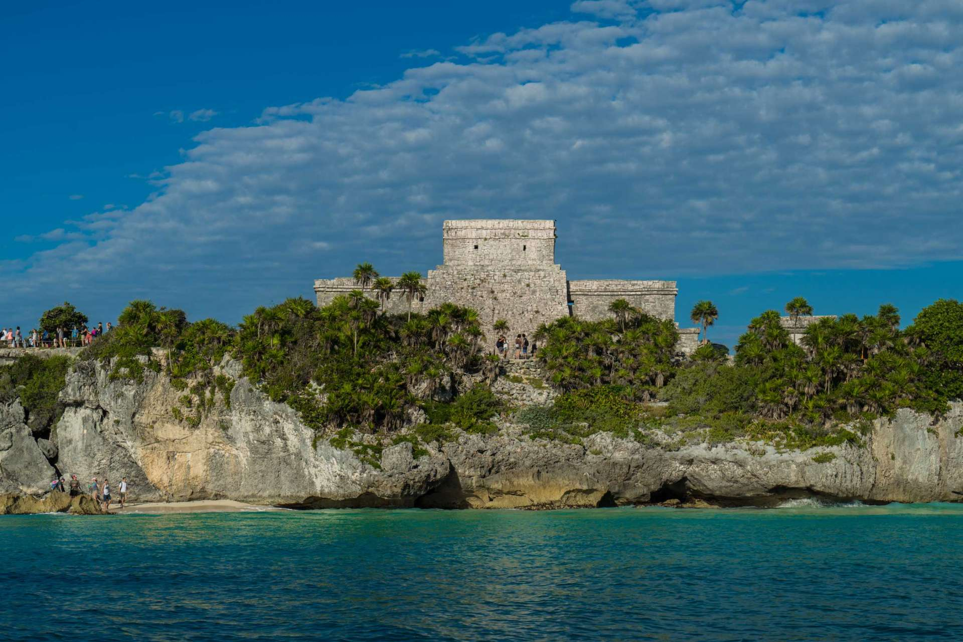 Tulum archeological site ruins from the sea