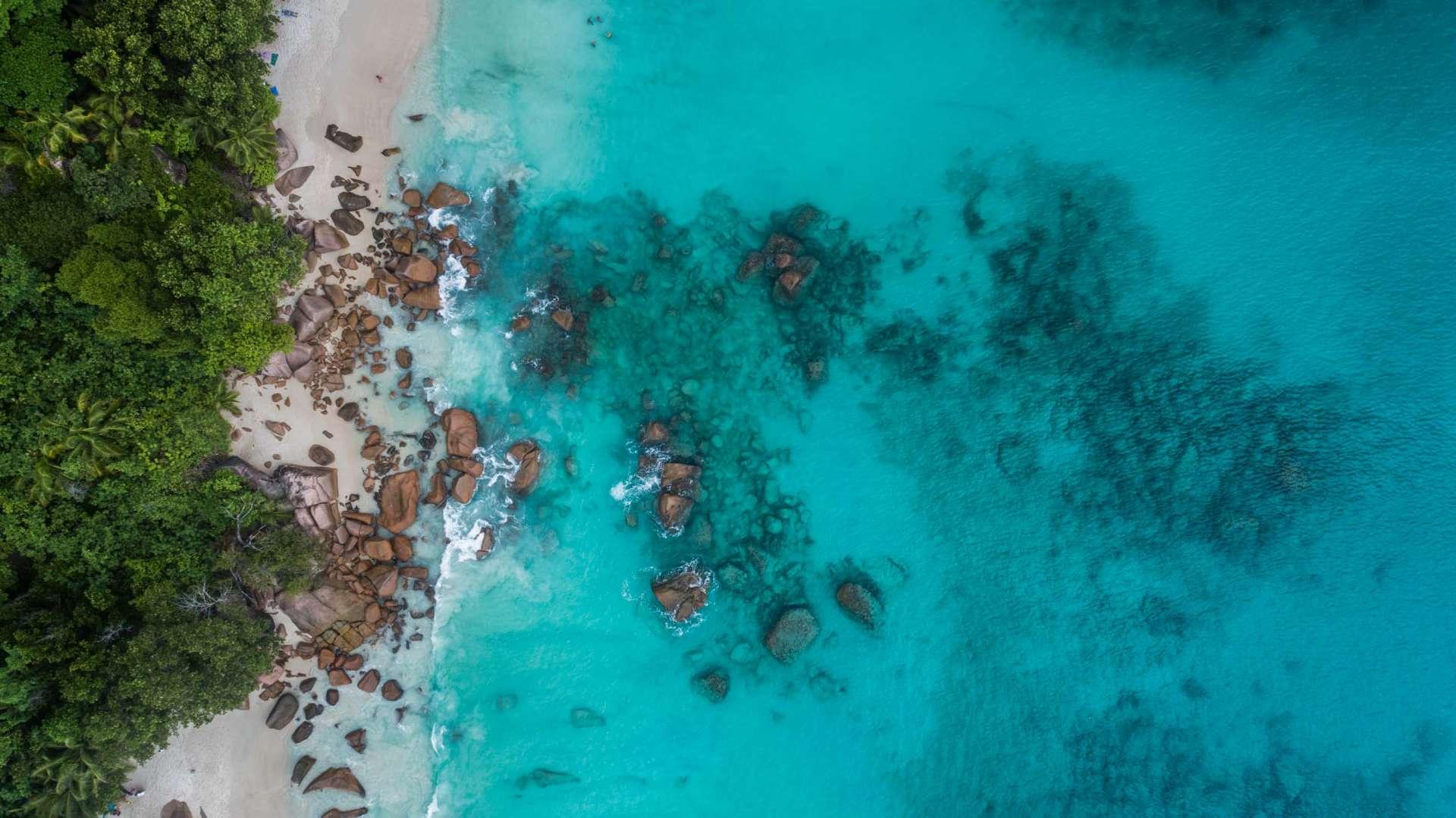 Seychelles Anse Lazio aerial view drone enrico pescantini from above