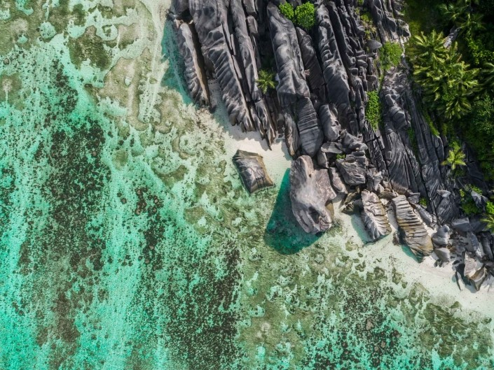 Seychelles Anse Source d'Argent aerial view drone enrico pescantini from above