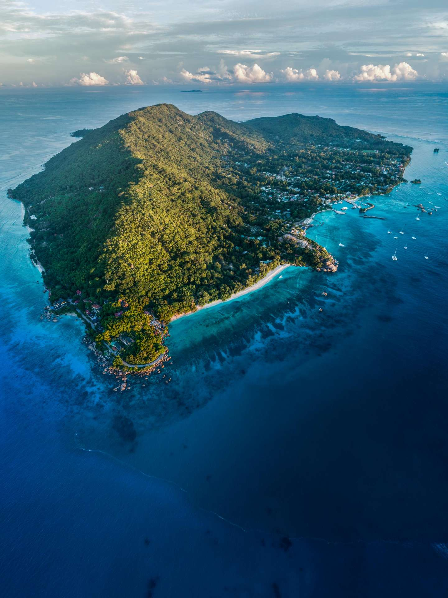 Seychelles La Digue Island drone aerial view enrico pescantini from above