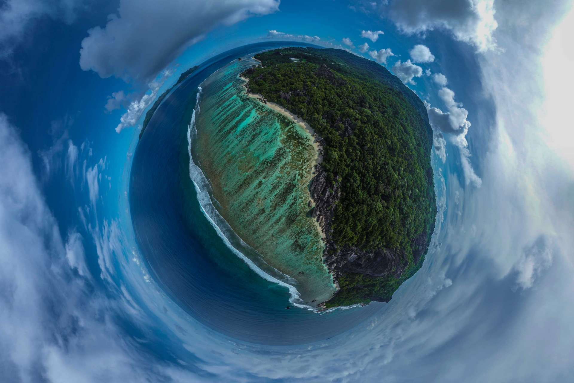 Seychelles Tiny Planet Anse Source d'Argent aerial view drone enrico pescantini from above