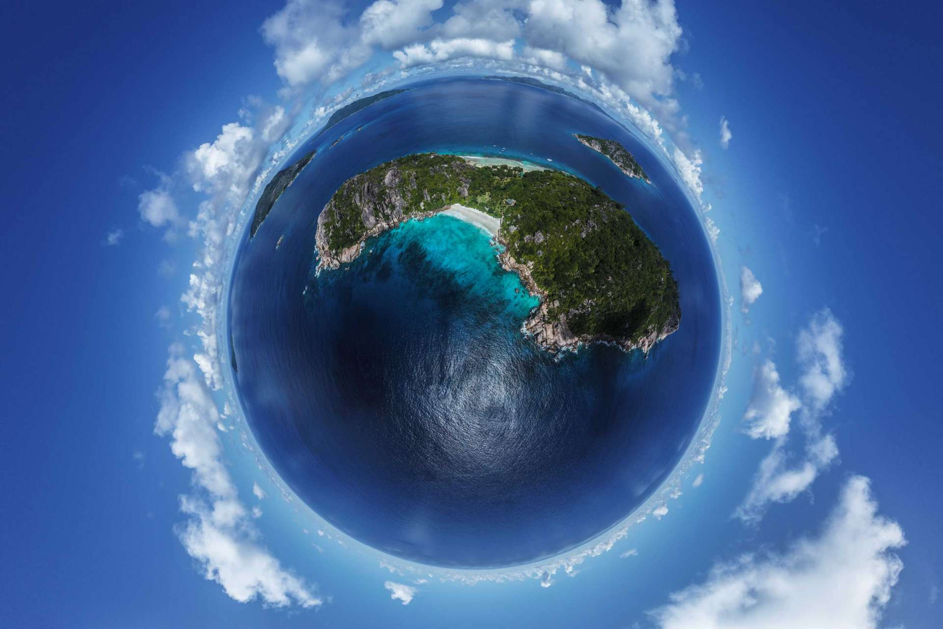 Seychelles Tiny Planet Grande Soeur Big Sister Island aerial view drone enrico pescantini from above