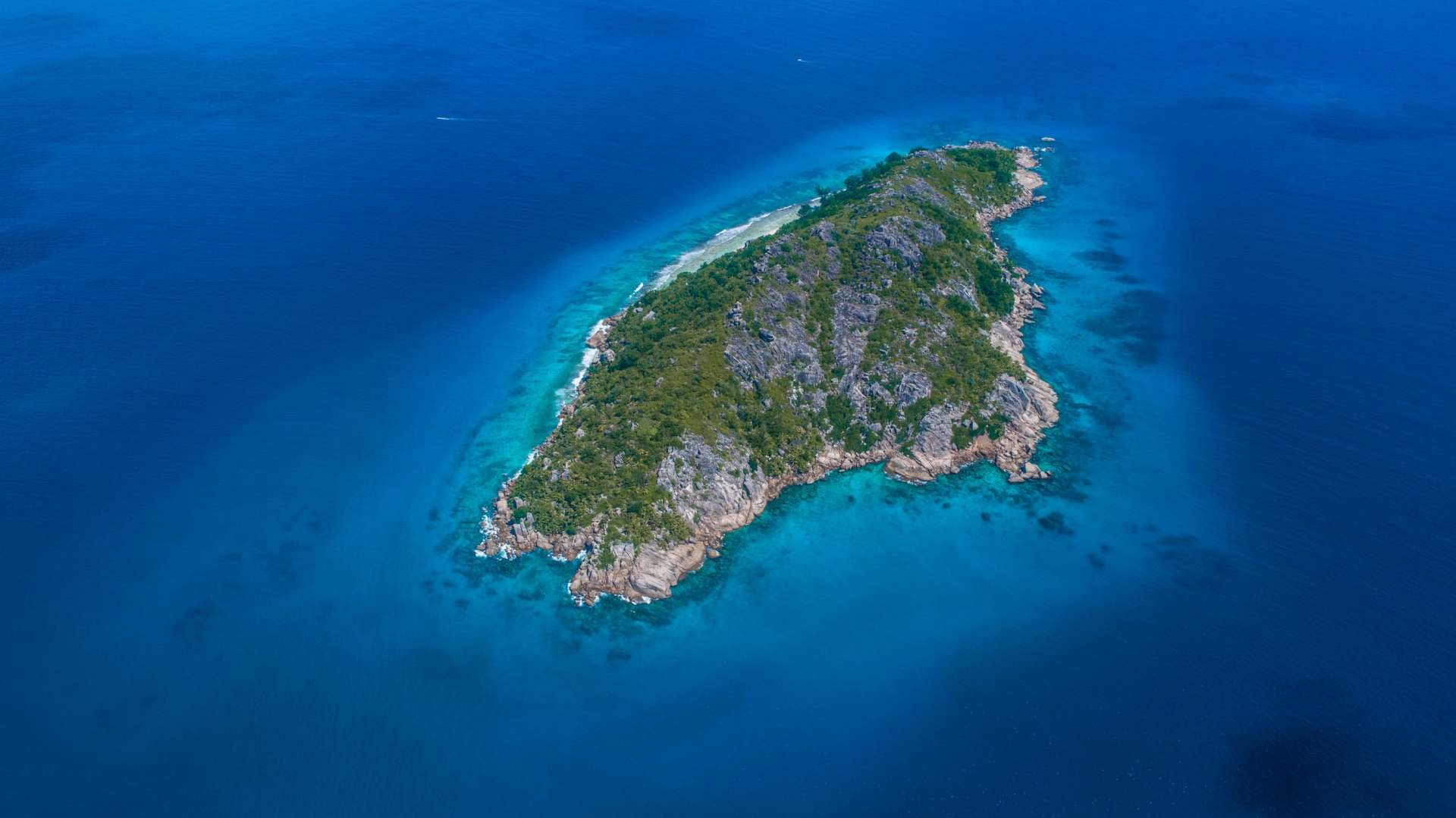 Seychelles Petite Soeur Little Sister Island drone aerial view enrico pescantini from above