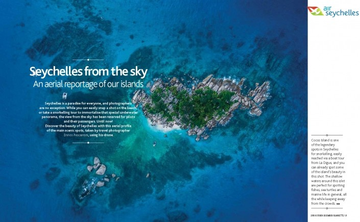 Seychelles From Above Air Seychelles Silhouette inflight magazine drone reportage enrico pescantini COVER