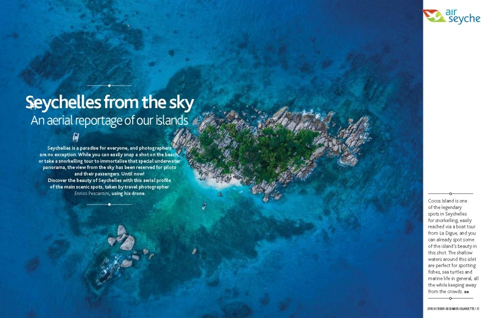 """""""Seychelles From Above"""" featured in Air Seychelles' Silhouette Magazine"""