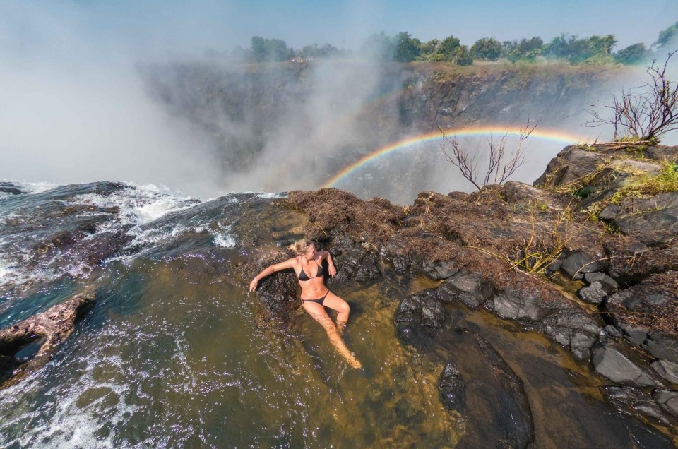 Victoria Falls and the Devil's Pool: sink in at the edge of the falls!