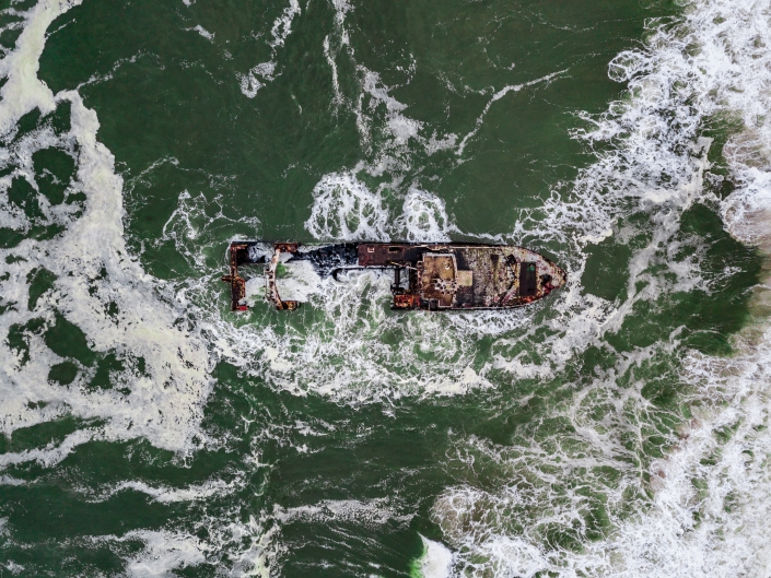 Namibia Enrico Pescantini Travel Photographer drone aerial from above skeleton coast shipwreck