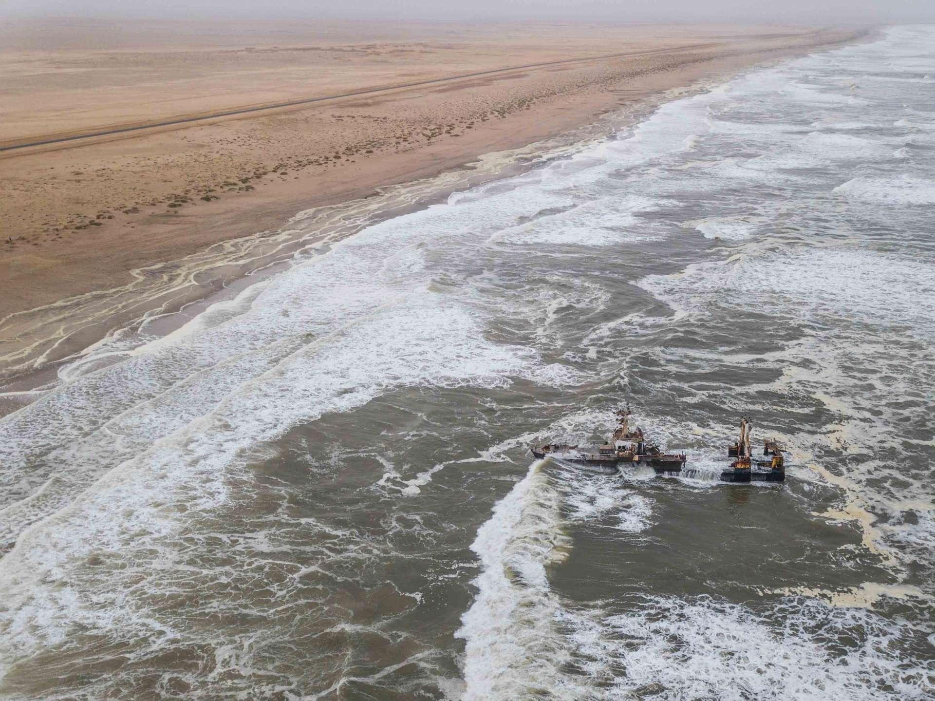 Namibia Enrico Pescantini Travel Photographer drone aerial from above skeleton coast shipwreck