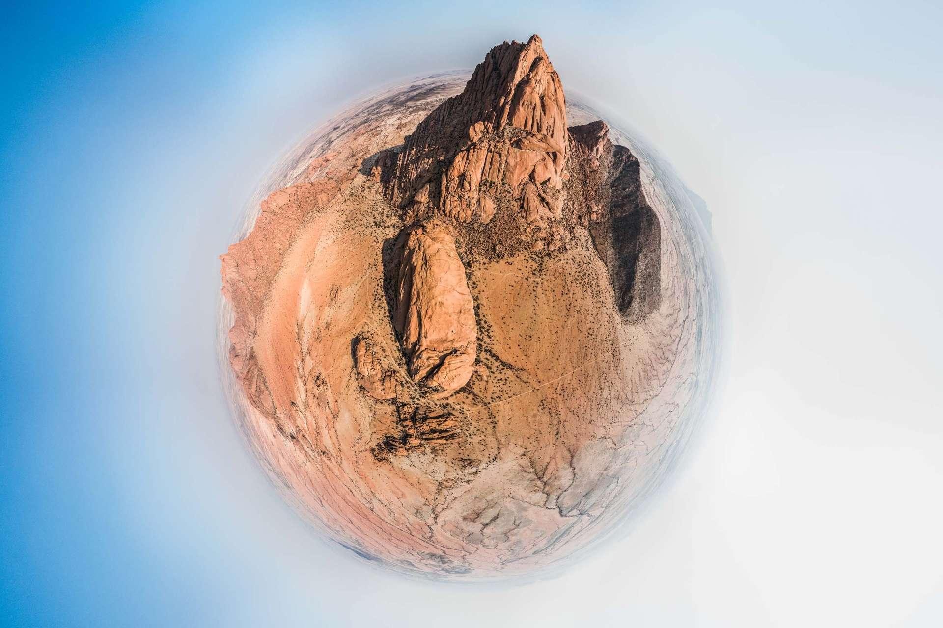 Namibia Spitzkoppe little planet enrico Pescantini Travel Photographer drone aerial Spitzkoppen