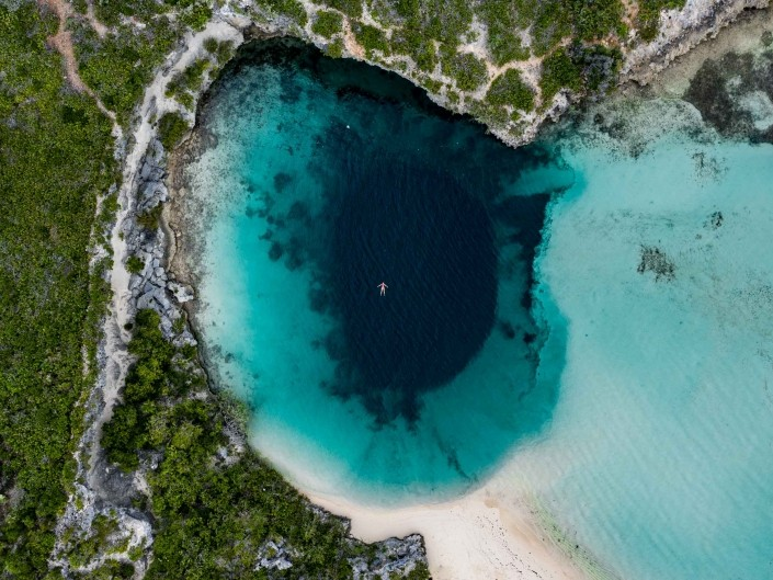 Bahamas Long Island Dean's Blue Hole aerial drone photography