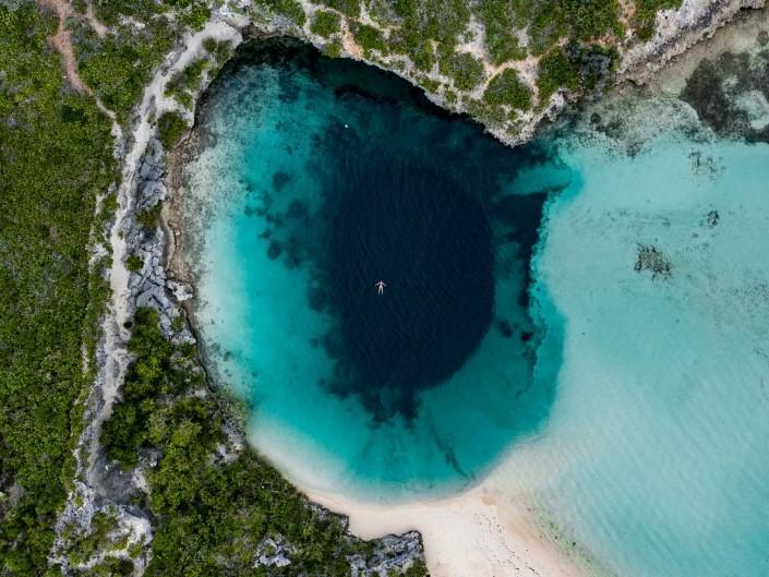Bahamas Long Island Dean's Blue Hole aerial drone photography