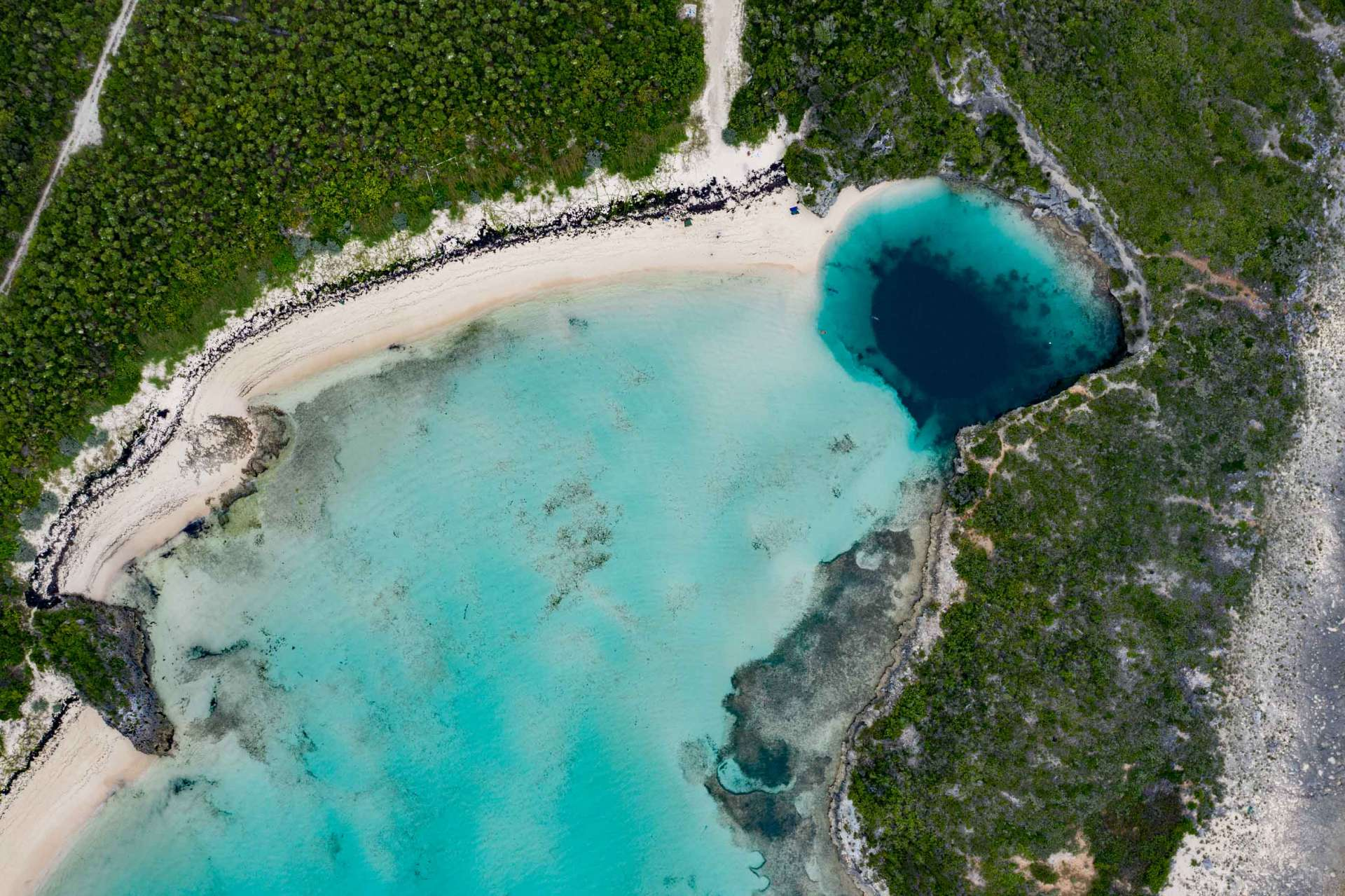 Bahamas Long Island Dean's Blue Hole aerial drone photography 2