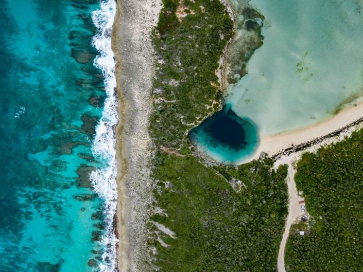 Bahamas Long Island Dean's Blue Hole aerial drone photography 3