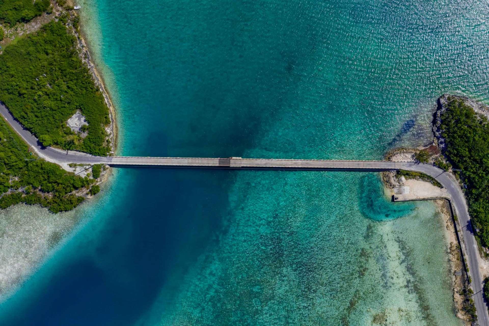 Exuma Cays Bahamas drone aerial view bridge
