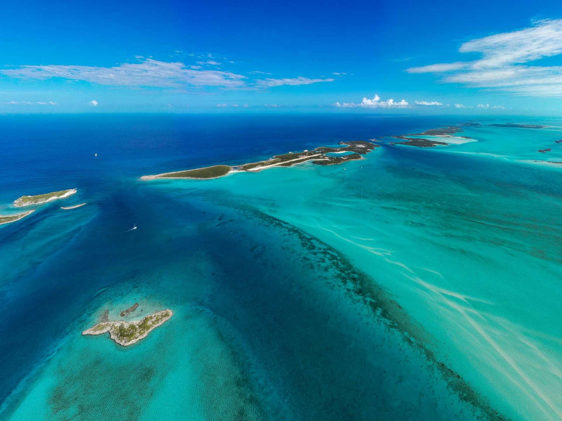 Exuma Cays Bahamas drone aerial view