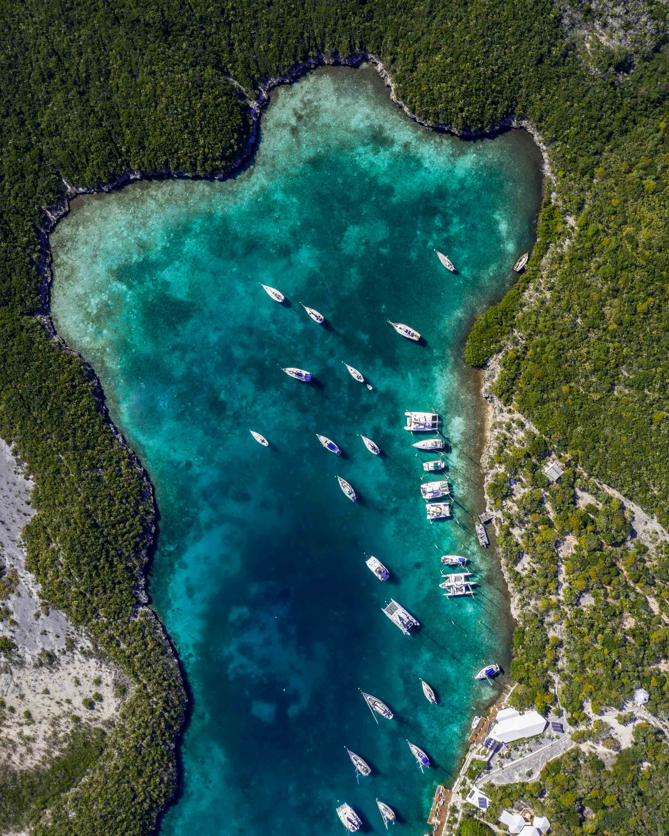 aerial view drone Chat N Chill Stocking Island Exuma Bahamas
