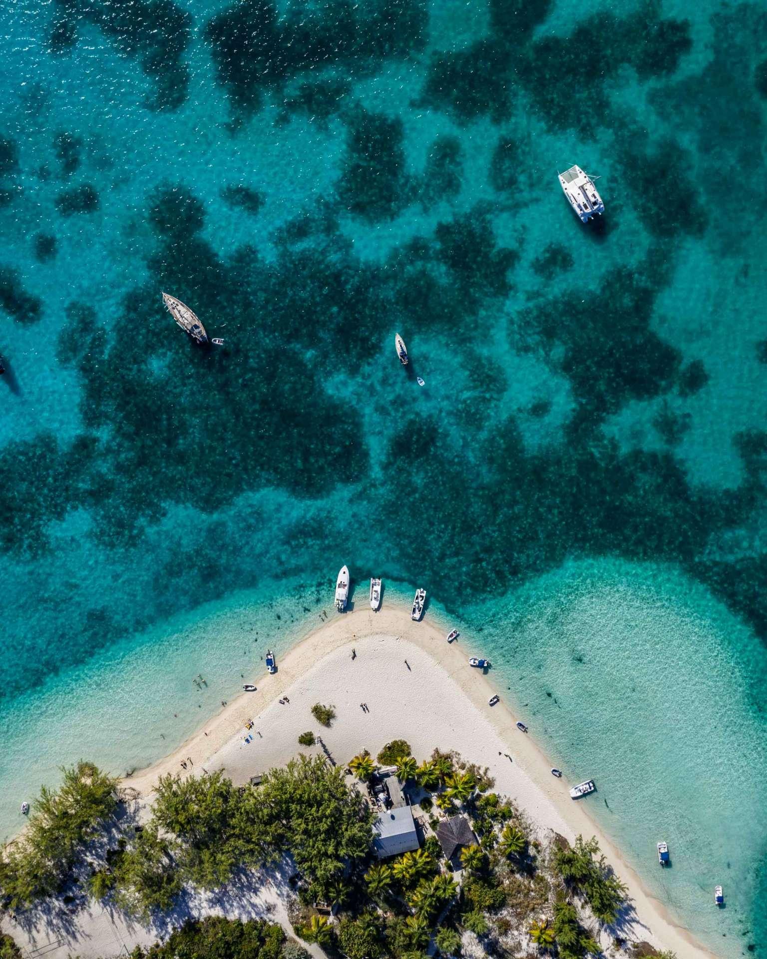 aerial view drone Chat N Chill Stocking Island Exuma Bahamas