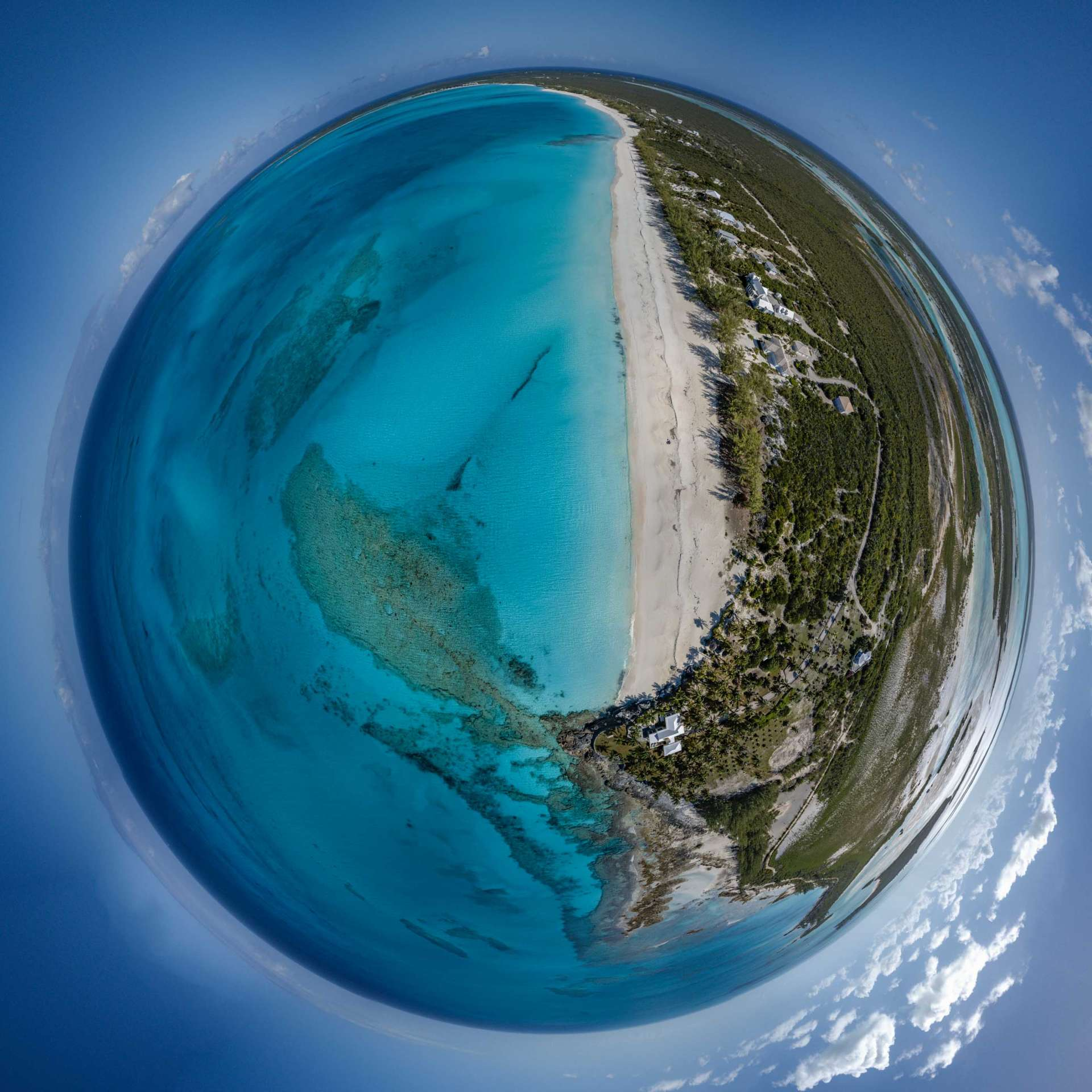 Bahamas Long Island Cape Santa Maria Beach by drone