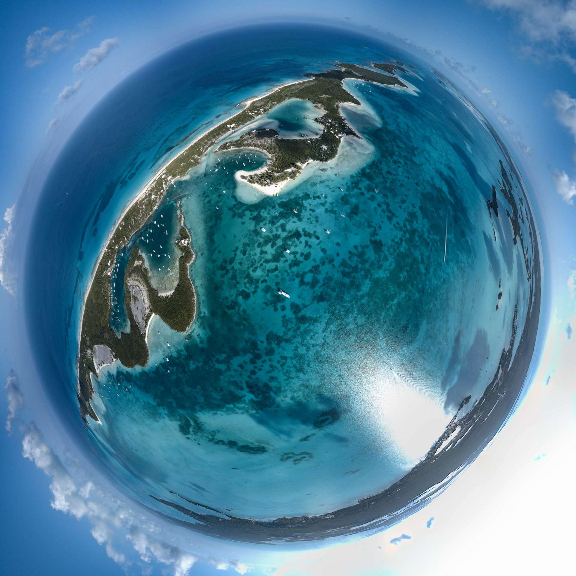 aerial view drone Chat N Chill Stocking Island Exuma Bahamas little planet