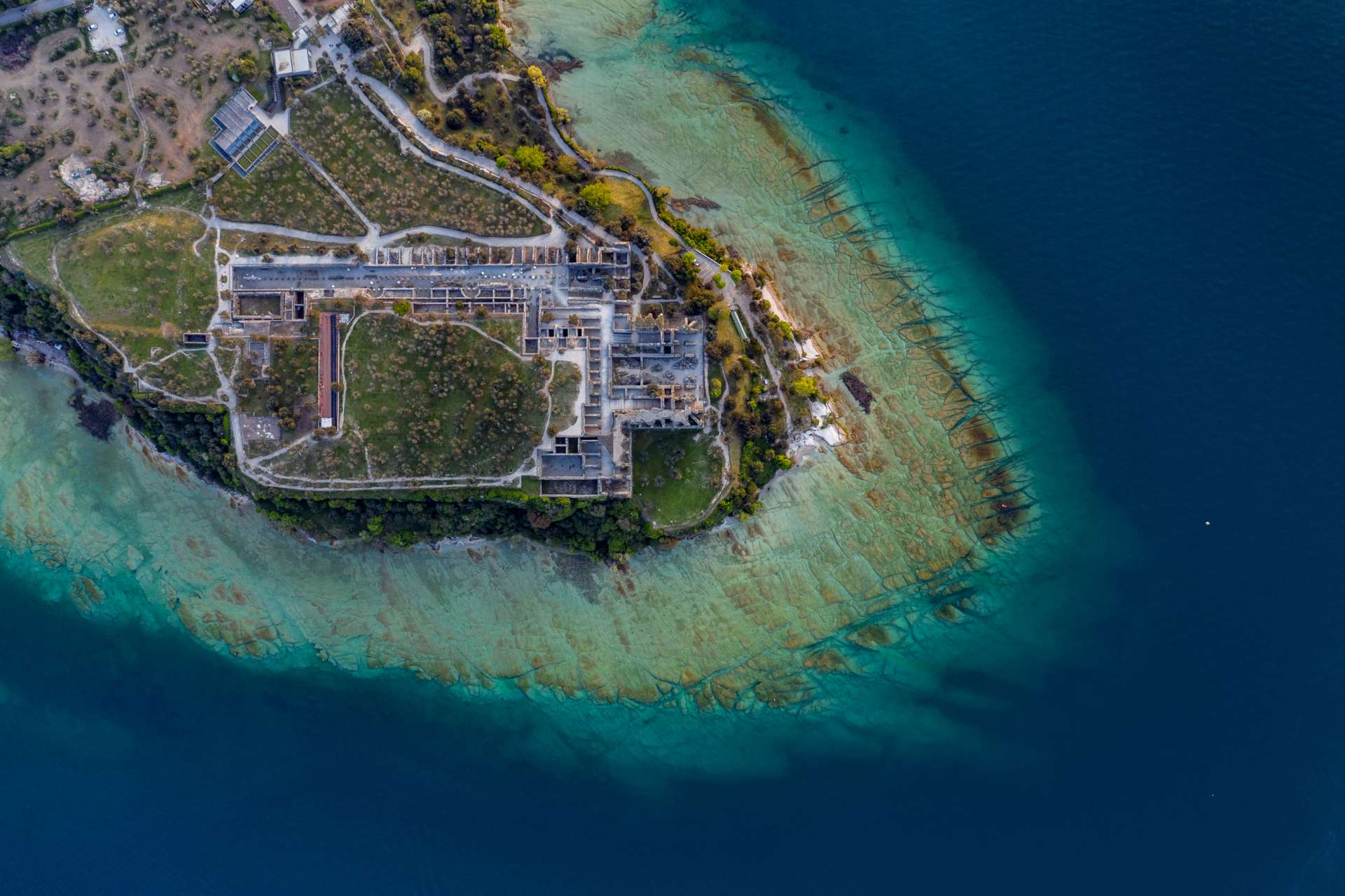 Grotto of Catullus Sirmione Lake of Garda Aerial Drone View