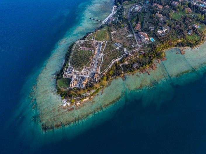 Grotto of Catullus Sirmione Lake of Garda Aerial Drone View 4