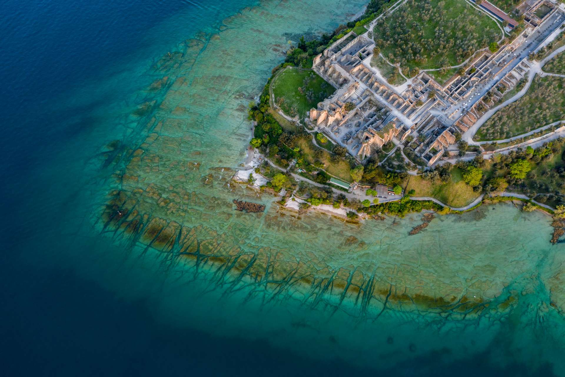 Grotto of Catullus Sirmione Lake of Garda Aerial Drone View 3