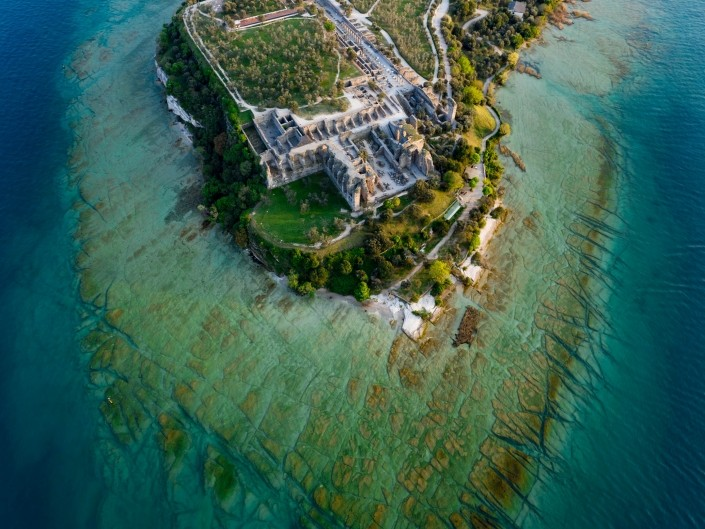 Grotto of Catullus Sirmione Lake of Garda Aerial Drone View 2